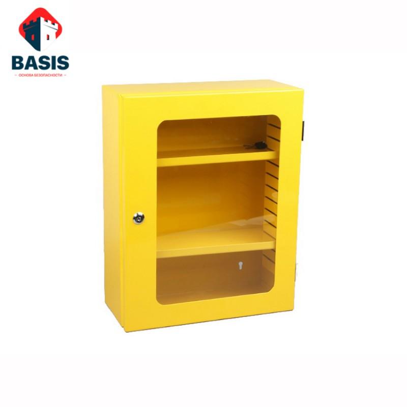 LOTO-станция из металла для хранения блокираторов, 600х480х180, желтая