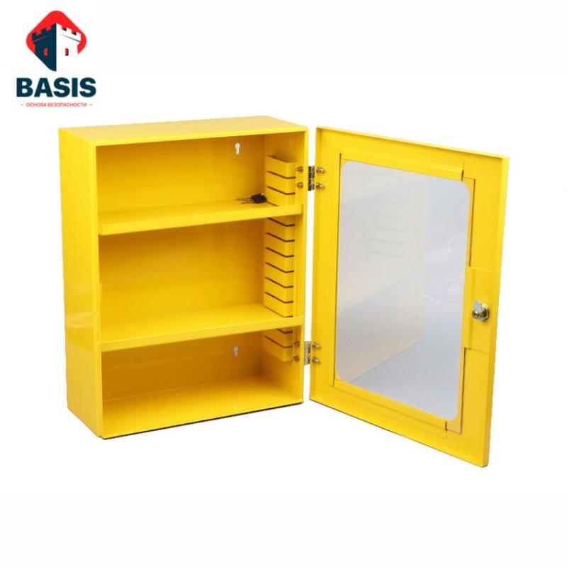 LOTO-станция из металла для хранения блокираторов, 1000х600х200, желтая