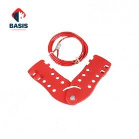 Тросовый блокиратор. Стальной трос 4 мм в красной PVC оплетке с зажимным механизмом, трос 2 м