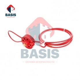 Тросовый блокиратор. Стальной трос 4 мм в красной PVC оплетке, длина 2 метра