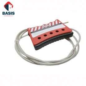 Тросовый блокиратор. Стальной трос 4 мм в прозрачной PVC оплетке с зажимным механизмом, трос 2,4м