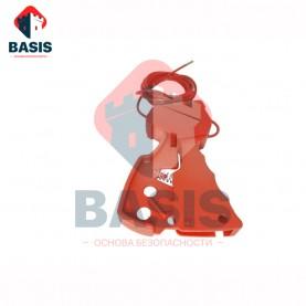 Тросовый блокиратор. Стальной трос 3.5 мм в красной PVC оплетке с зажимным механизмом, трос 2,4м