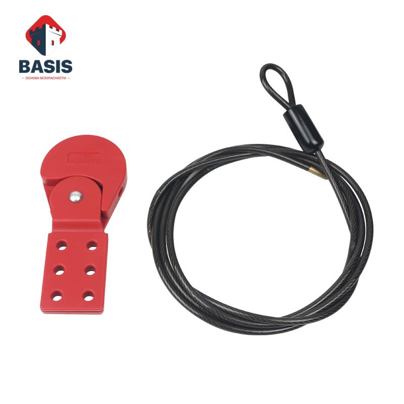 Тросовый блокиратор. Стальной трос 4 мм в черной PVC оплетке с зажимным механизмом, трос 2 м