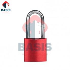 Замок блокировочный алюминиевый, дужка 38 мм, красный