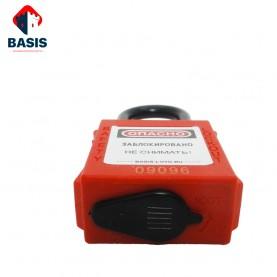 Замок пылезащищенный блокировочный красный из прочного ABS-пластика, дужка высотой 38 мм из нейлона