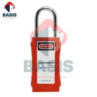 Замок блокировочный удлиненный красный из прочного ABS-пластика, дужка высотой 38 мм из закаленной стали