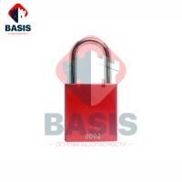 Замок блокировочный алюминиевый с системой POP-UP, дужка 38 мм, красный
